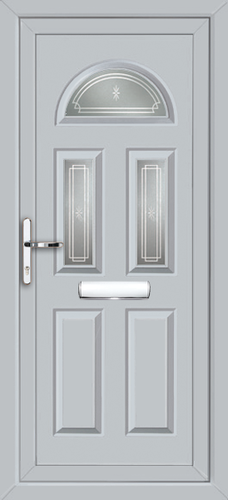 Light grey coventry fowey fully fitted upvc front door for Upvc front doors fitted