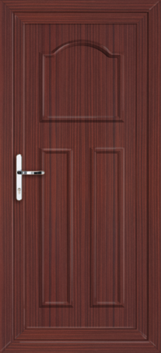 Mahogany glasgow solid fully fitted upvc back door for Solid back doors