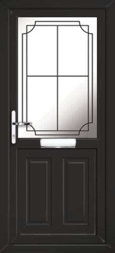 Black leicester lwd19 fully fitted upvc front door for Upvc doors fitted