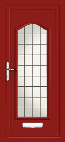 Red oxford fully glazed square lead fully fitted upvc for Upvc front doors fitted