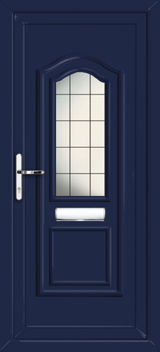 Blue oxford square lead fully fitted upvc front door for Upvc front doors fitted