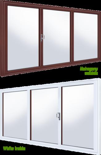 Woodgrain over white upvc sliding patio doors for White upvc patio doors
