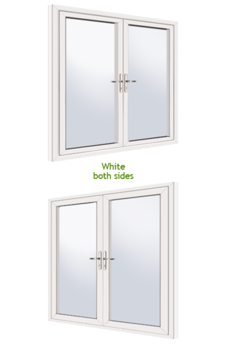 White white supply only upvc french door for Upvc french doors made to measure