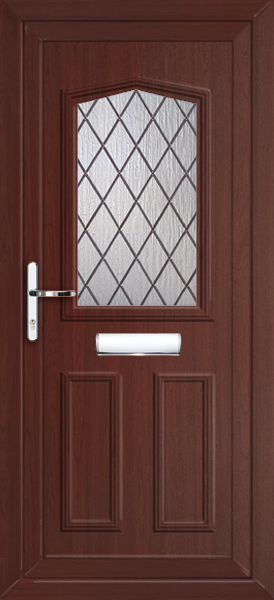 Rosewood Aberdeen Diamond Lead Fully Fitted Upvc Front Door