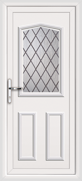 White aberdeen diamond lead supply only upvc back door for White back door