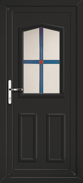 Black aberdeen europa fully fitted upvc back door for Back doors fitted