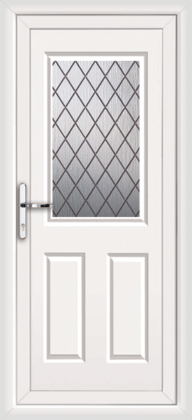 White bromley diamond lead fully fitted upvc back door for Upvc doors fitted