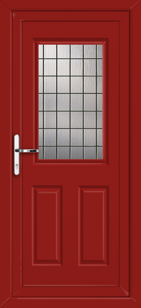 Red bromley square lead fully fitted upvc back door for Back doors fitted