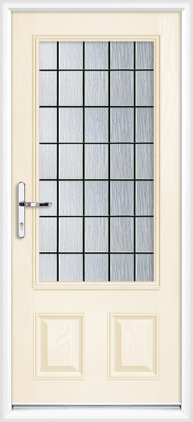 Cream cleveland box lead fully fitted composite back door for Back doors fitted