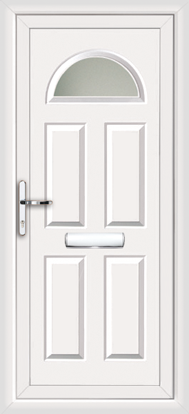 White coventry iskar fully fitted upvc front door for Exterior doors fitted