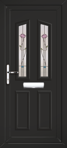 Black croydon kura fully fitted upvc front door for Exterior doors fitted