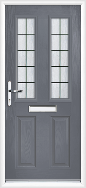 Slate grey dorset box lead fully fitted composite front door for Exterior doors fitted
