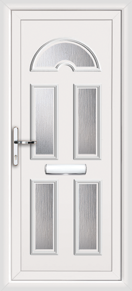 White Enfield 5 Glass Panel Fully Fitted Upvc Front Door