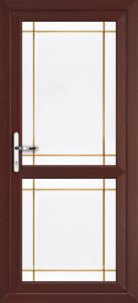 Rosewood fully glazed with midrail gold edwardian fret for Upvc doors fitted
