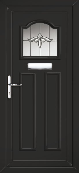 Black glasgow rhine fully fitted upvc front door for Upvc front doors fitted