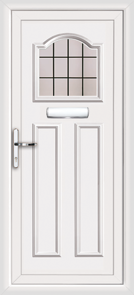 White glasgow square lead fully fitted upvc front door for Exterior doors fitted