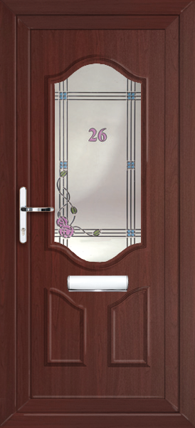 Rosewood greenwich modena fully fitted upvc front door for Upvc front doors fitted