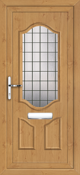 Irish oak greenwich square lead fully fitted upvc front door for Upvc front doors fitted