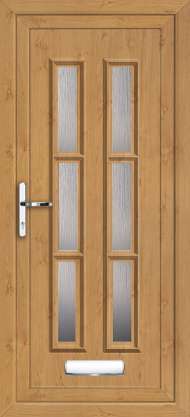 Irish oak havering arbon 6 fully fitted upvc front door for Upvc front doors fitted