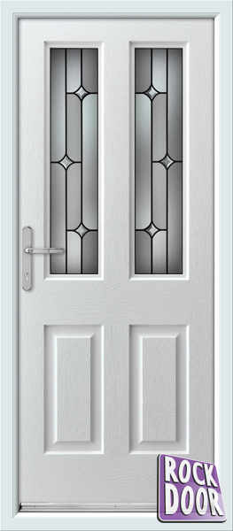 Jacobean Linear  sc 1 st  We Do Doors & White Jacobean Linear Fully Fitted Rock Door