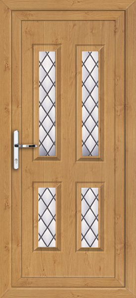 Irish oak leeds diamond lead 4 fully fitted upvc back door for Back doors fitted