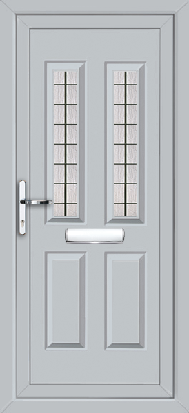 Light grey leeds square lead fully fitted upvc front door for Upvc doors fitted