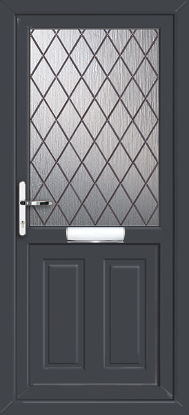anthracite grey Leicester diamond lead upvc front door : doors leicester - pezcame.com
