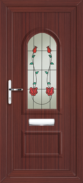 Mahogany lewisham alana fully fitted upvc front door for Upvc front doors fitted
