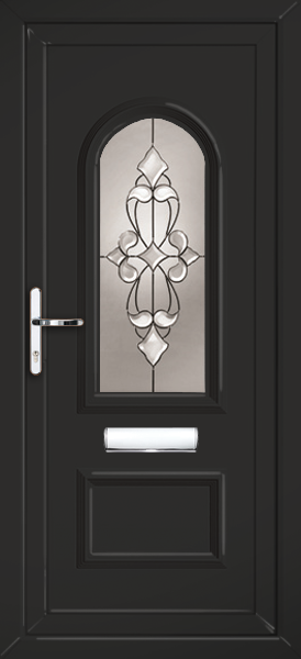 Black lewisham empress fully fitted upvc front door for Upvc front doors fitted