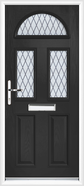 Black lothian diamond lead fully fitted composite front door for Exterior doors fitted