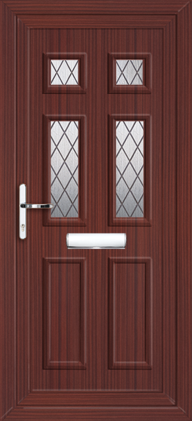 Mahogany newham diamond lead 4 fully fitted upvc front door for Upvc front doors fitted