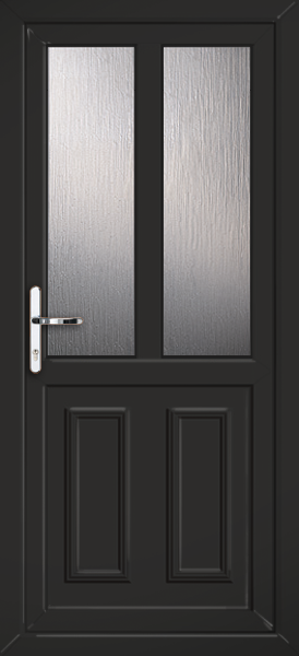 Black nottingham melody 2 fully fitted upvc back door for Back doors fitted