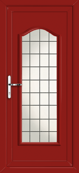 Red oxford fully glazed square lead fully fitted upvc back for Back doors fitted