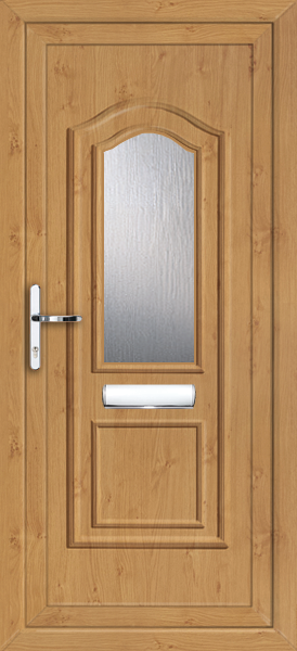 Irish oak oxford clear obscured fully fitted upvc front door for Upvc front doors fitted