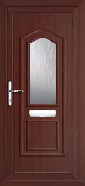 Rosewood oxford clear obscured fully fitted upvc front door for Exterior doors fitted