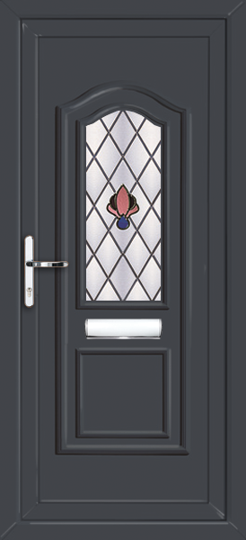 Oxford crest & Anthracite Grey Oxford Crest Fully Fitted Upvc Front Door