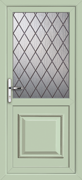 Chartwell green reading diamond lead fully fitted upvc for Back doors fitted