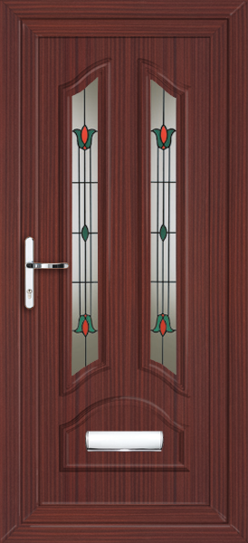 Mahogany stafford dalia fully fitted upvc front door for Upvc front doors fitted
