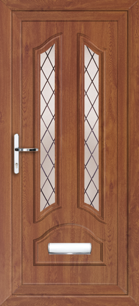 Oak stafford diamond lead fully fitted upvc front door for Exterior doors fitted