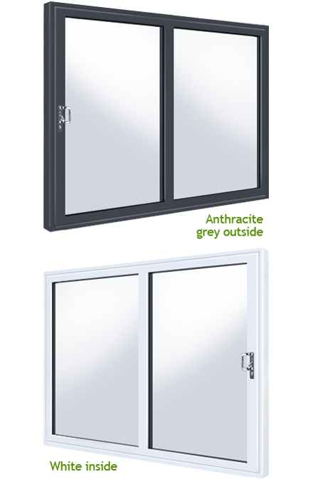 White anthracite grey over white 2 panel upvc supply only for White upvc patio doors