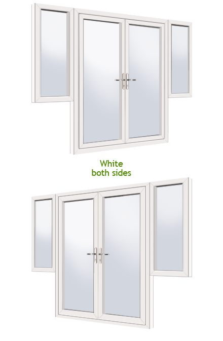 supply only upvc french doors with flag windows